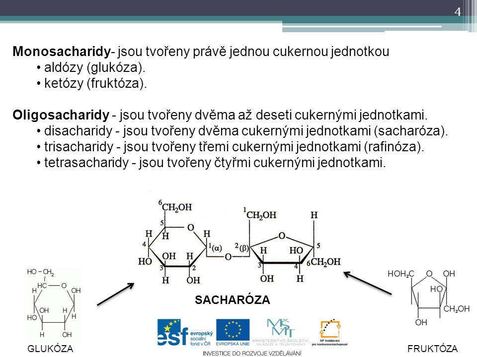 4 Monosacharidy- jsou tvořeny právě jednou cukernou jednotkou aldózy (glukóza).