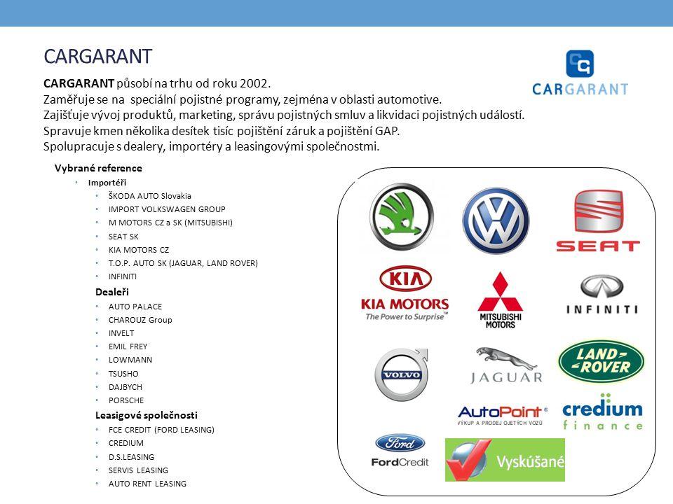 CARGARANT Vybrané reference Importéři ŠKODA AUTO Slovakia IMPORT VOLKSWAGEN GROUP M MOTORS CZ a SK (MITSUBISHI) SEAT SK KIA MOTORS CZ T.O.P.