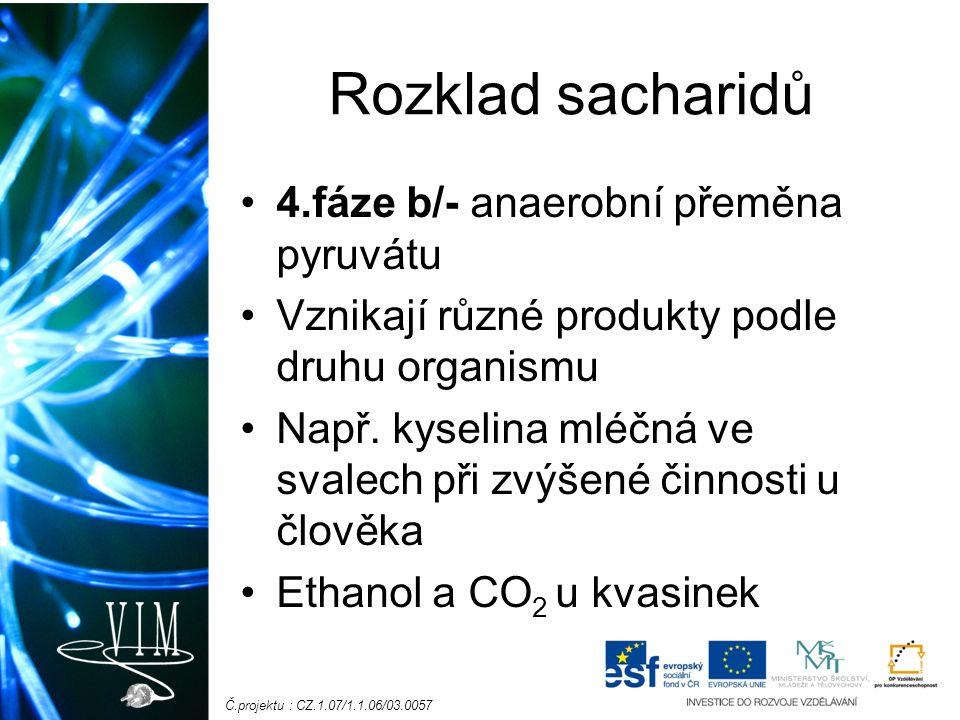 Č.projektu : CZ.1.07/1.1.06/03.0057 Rozklad sacharidů 4.fáze b/- anaerobní přeměna pyruvátu Vznikají různé produkty podle druhu organismu Např.