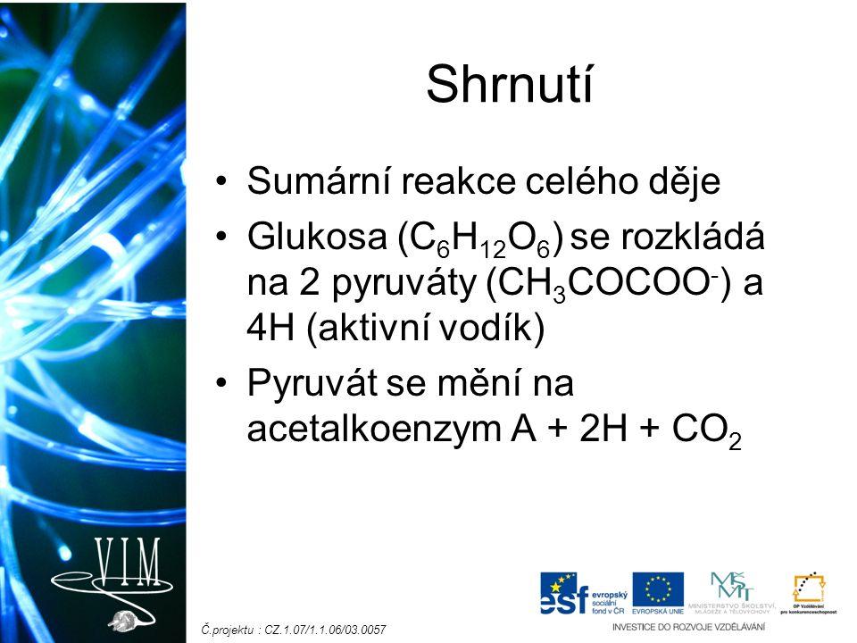 Č.projektu : CZ.1.07/1.1.06/03.0057 Shrnutí Sumární reakce celého děje Glukosa (C 6 H 12 O 6 ) se rozkládá na 2 pyruváty (CH 3 COCOO - ) a 4H (aktivní vodík) Pyruvát se mění na acetalkoenzym A + 2H + CO 2