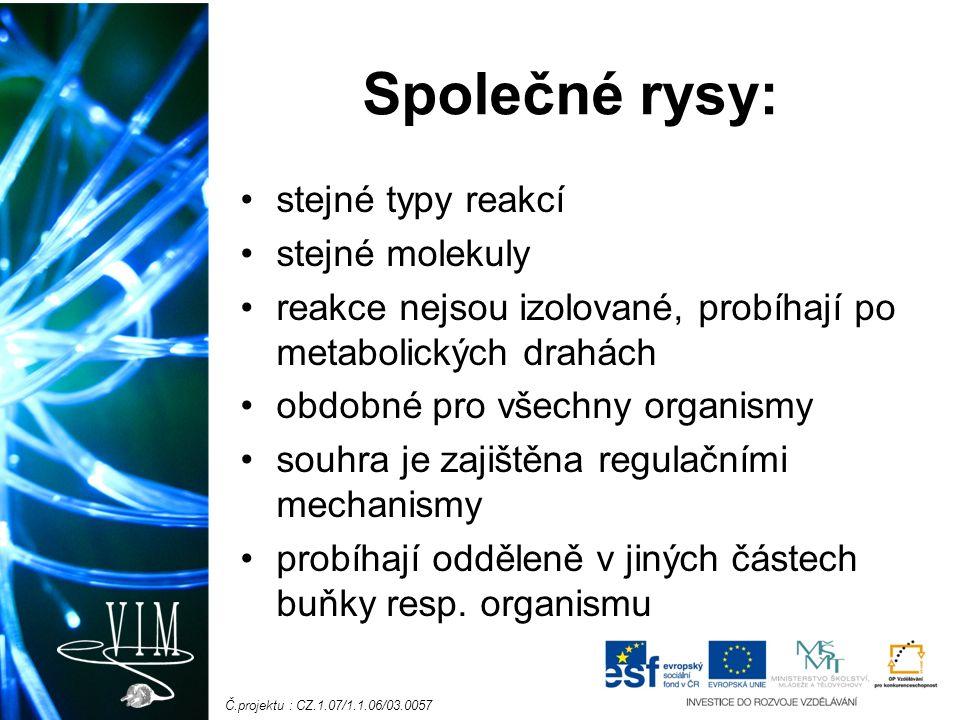Č.projektu : CZ.1.07/1.1.06/03.0057 Společné rysy: stejné typy reakcí stejné molekuly reakce nejsou izolované, probíhají po metabolických drahách obdobné pro všechny organismy souhra je zajištěna regulačními mechanismy probíhají odděleně v jiných částech buňky resp.