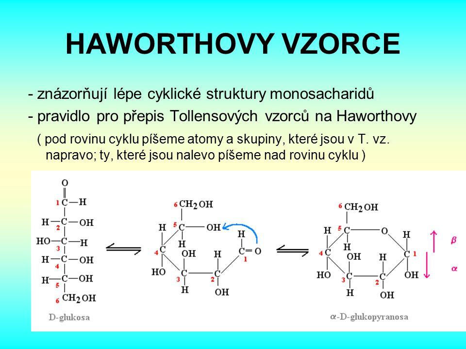 HAWORTHOVY VZORCE - znázorňují lépe cyklické struktury monosacharidů - pravidlo pro přepis Tollensových vzorců na Haworthovy ( pod rovinu cyklu píšeme atomy a skupiny, které jsou v T.