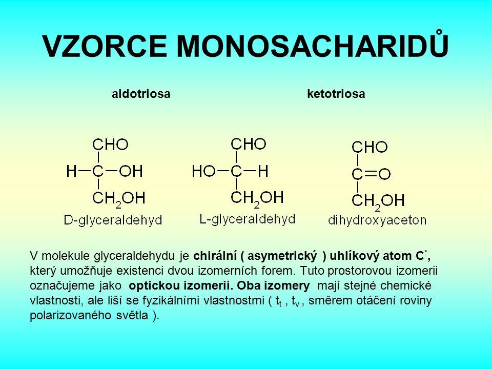 VZORCE MONOSACHARIDŮ aldotriosa ketotriosa V molekule glyceraldehydu je chirální ( asymetrický ) uhlíkový atom C *, který umožňuje existenci dvou izomerních forem.