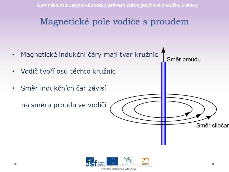 Gymnázium a Jazyková škola s právem státní jazykové zkoušky Svitavy Magnetické pole vodiče s proudem Magnetické indukční čáry mají tvar kružnic Vodič tvoří osu těchto kružnic Směr indukčních čar závisí na směru proudu ve vodiči