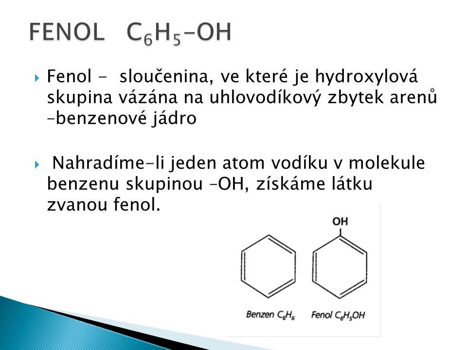  Fenol - sloučenina, ve které je hydroxylová skupina vázána na uhlovodíkový zbytek arenů –benzenové jádro  Nahradíme-li jeden atom vodíku v molekule benzenu skupinou –OH, získáme látku zvanou fenol.