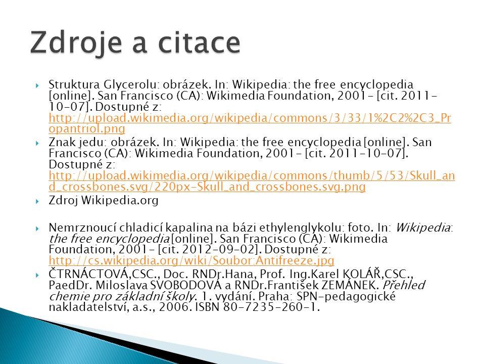  Struktura Glycerolu: obrázek. In: Wikipedia: the free encyclopedia [online].