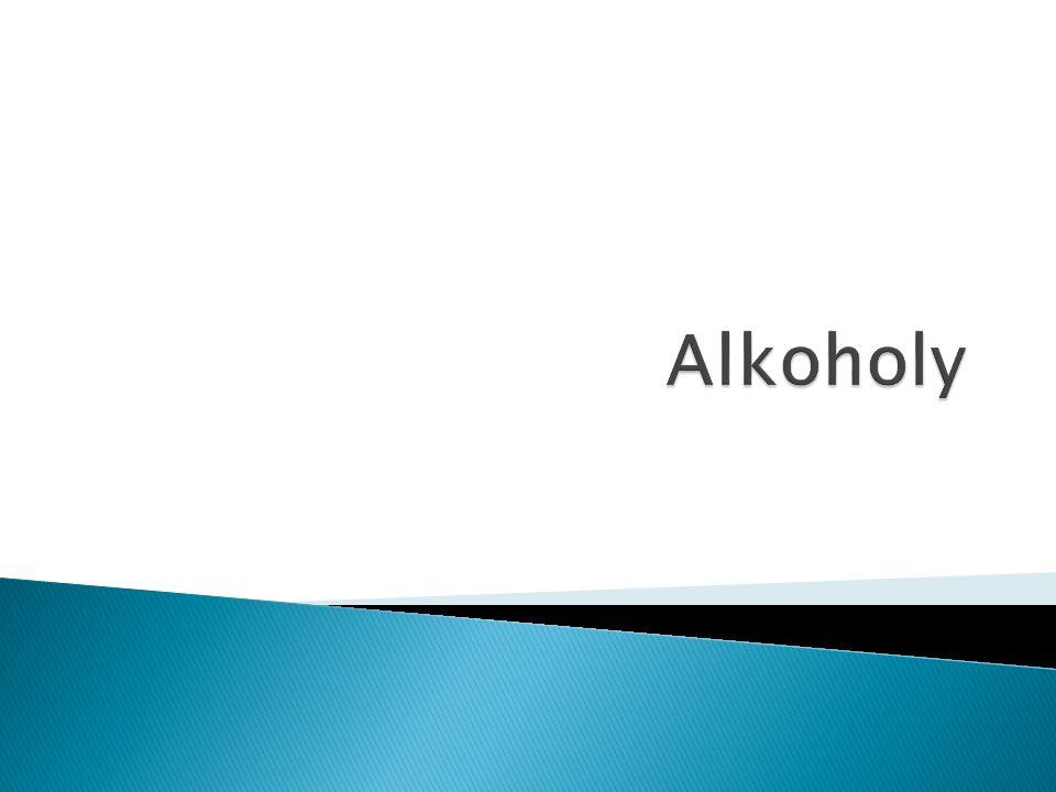  Alkoholy jsou deriváty uhlovodíků,  mají v molekule vázanou hydroxylovou skupinu - OH Názvosloví  Názvy mají koncovku : - ol  Názvy alkoholů se tvoří pomocí koncovky -ol připojené k názvu příslušného uhlovodíku.