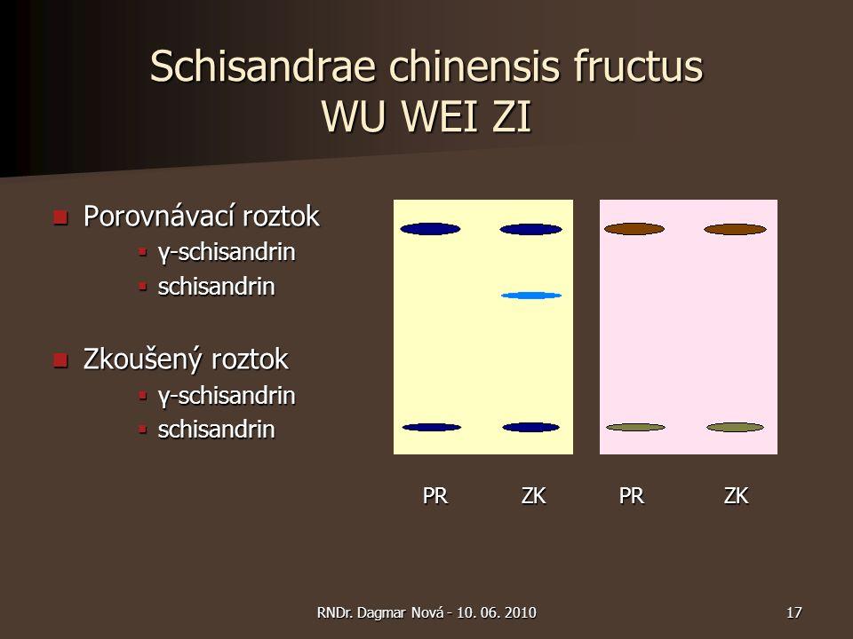 Schisandrae chinensis fructus WU WEI ZI Porovnávací roztok Porovnávací roztok  γ-schisandrin  schisandrin Zkoušený roztok Zkoušený roztok  γ-schisandrin  schisandrin PR ZK PR ZK PR ZK PR ZK 17RNDr.