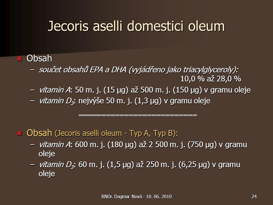 Jecoris aselli domestici oleum Obsah Obsah –součet obsahů EPA a DHA (vyjádřeno jako triacylglyceroly): 10,0 % až 28,0 % –vitamin A: 50 m. j. (15 μg) a