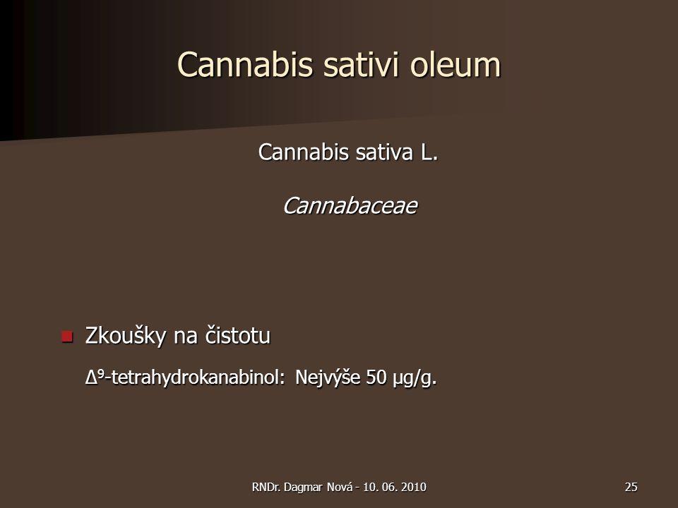 Cannabis sativi oleum Cannabis sativa L. Cannabaceae Zkoušky na čistotu Zkoušky na čistotu Δ 9 -tetrahydrokanabinol: Nejvýše 50 µg/g. 25RNDr. Dagmar N