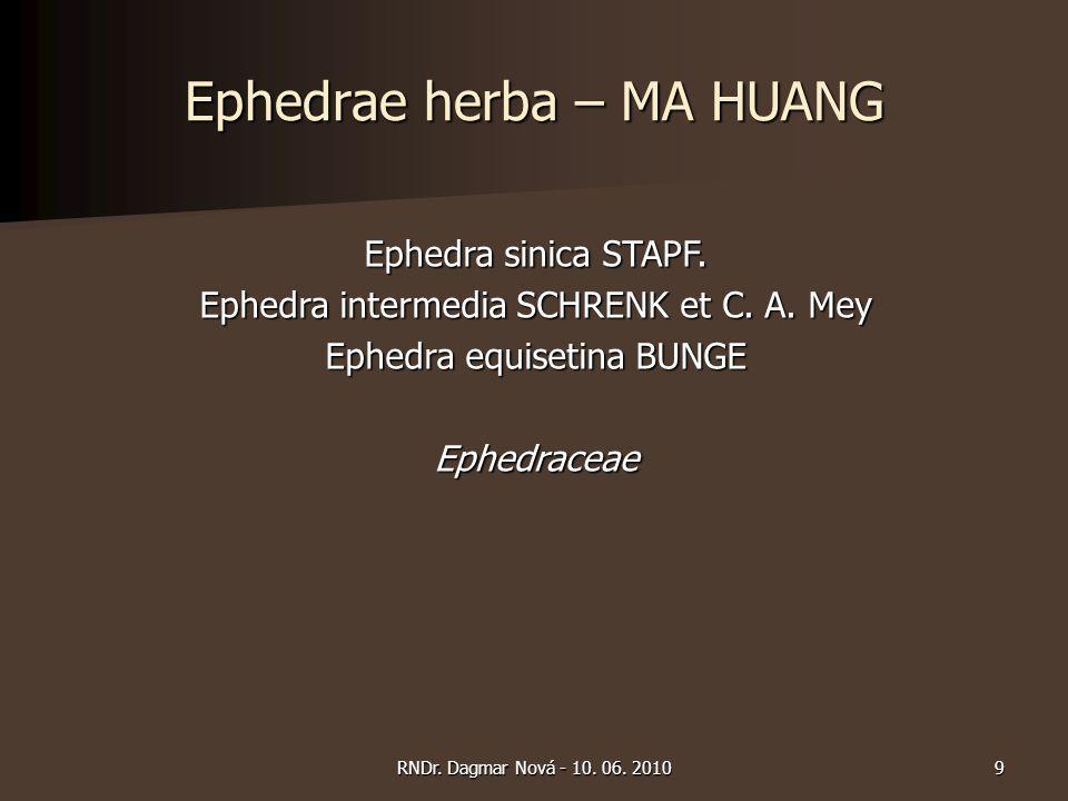 Ephedrae herba – MA HUANG Obsahové látky Obsahové látky  alkaloidy  flavonoflavanol (efedramin A)  bisflavanoly (mahuanin A – D)  požadavek - nejméně 1,0 % efedrinu Použití Použití  astma bronchiale, nemoci z nachlazení, retence vody v organismu Dávkování Dávkování  1,5 – 9,0 g 10RNDr.