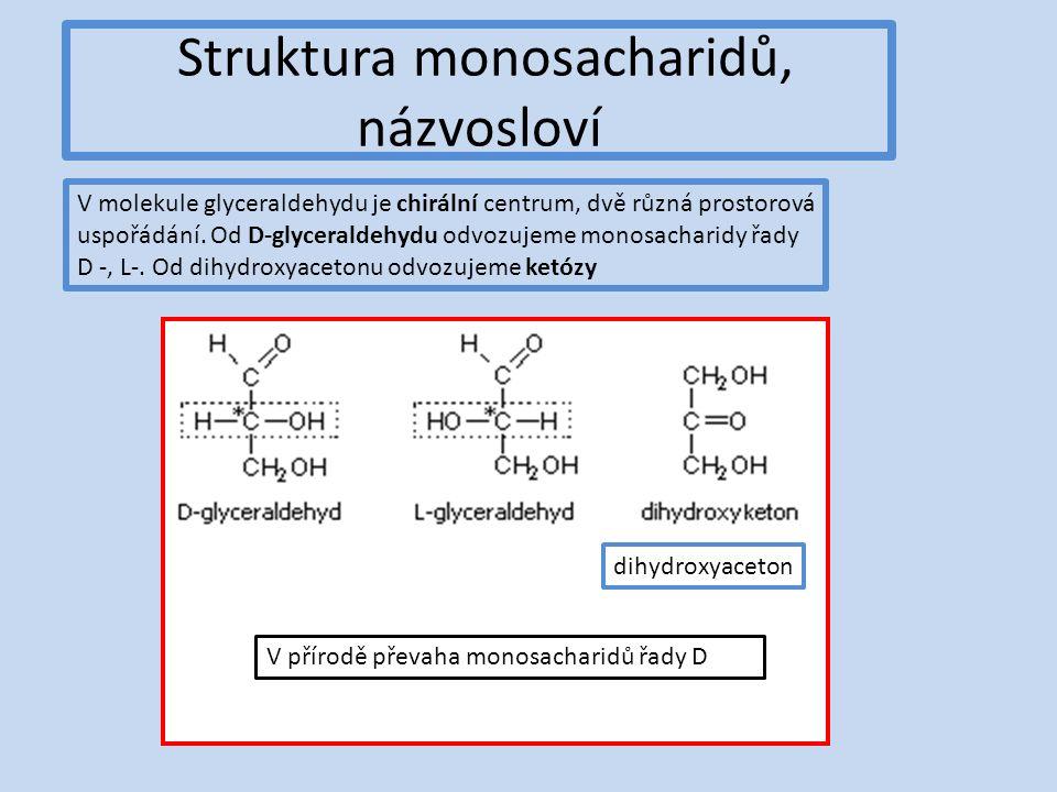 Struktura monosacharidů, názvosloví V molekule glyceraldehydu je chirální centrum, dvě různá prostorová uspořádání.