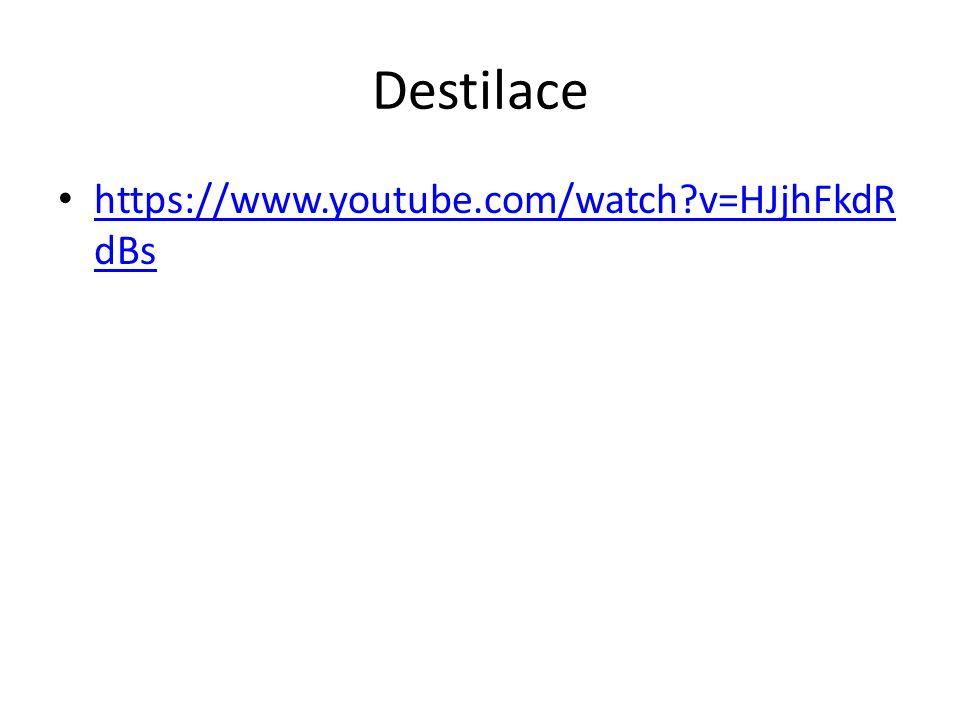 Destilace https://www.youtube.com/watch?v=HJjhFkdR dBs https://www.youtube.com/watch?v=HJjhFkdR dBs