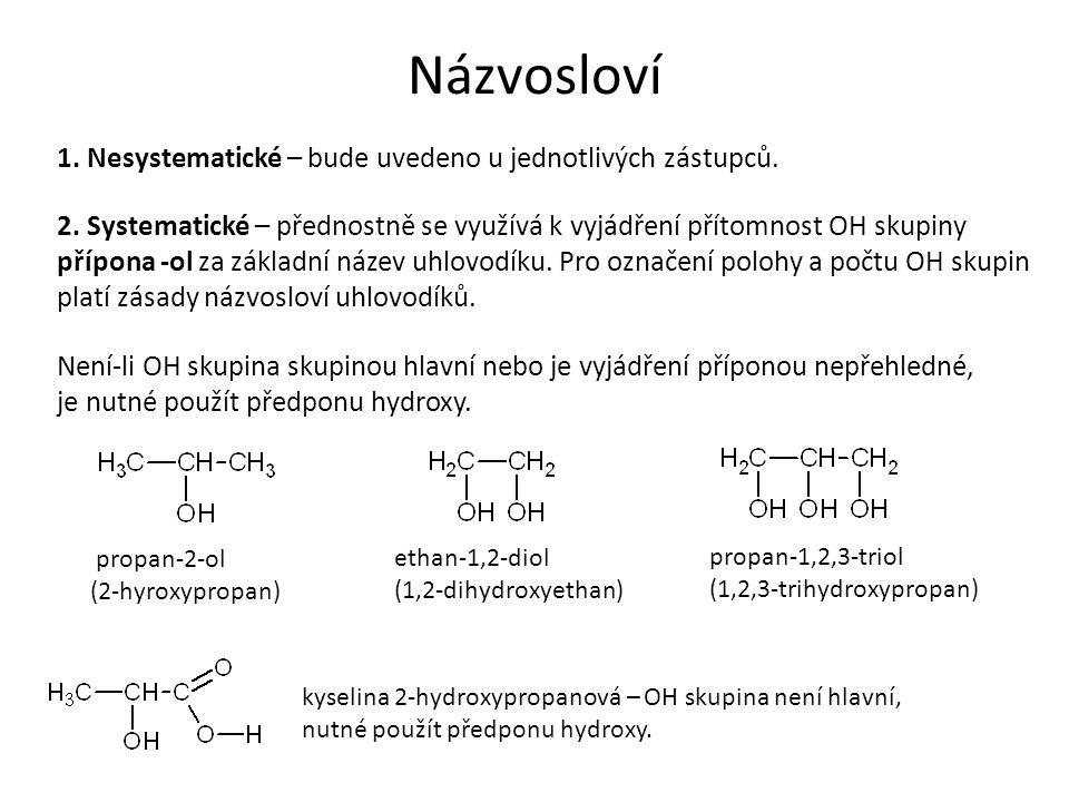 Názvosloví 1. Nesystematické – bude uvedeno u jednotlivých zástupců. 2. Systematické – přednostně se využívá k vyjádření přítomnost OH skupiny přípona