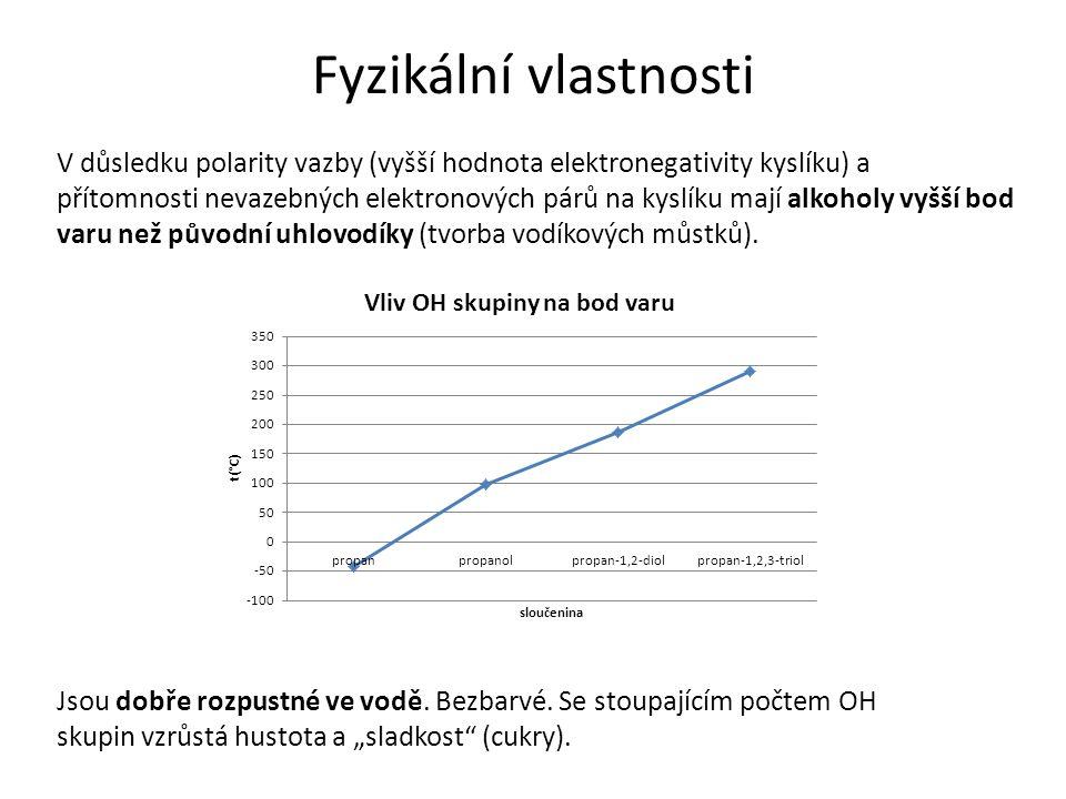 """Fyzikální vlastnosti Jsou dobře rozpustné ve vodě. Bezbarvé. Se stoupajícím počtem OH skupin vzrůstá hustota a """"sladkost"""" (cukry). V důsledku polarity"""