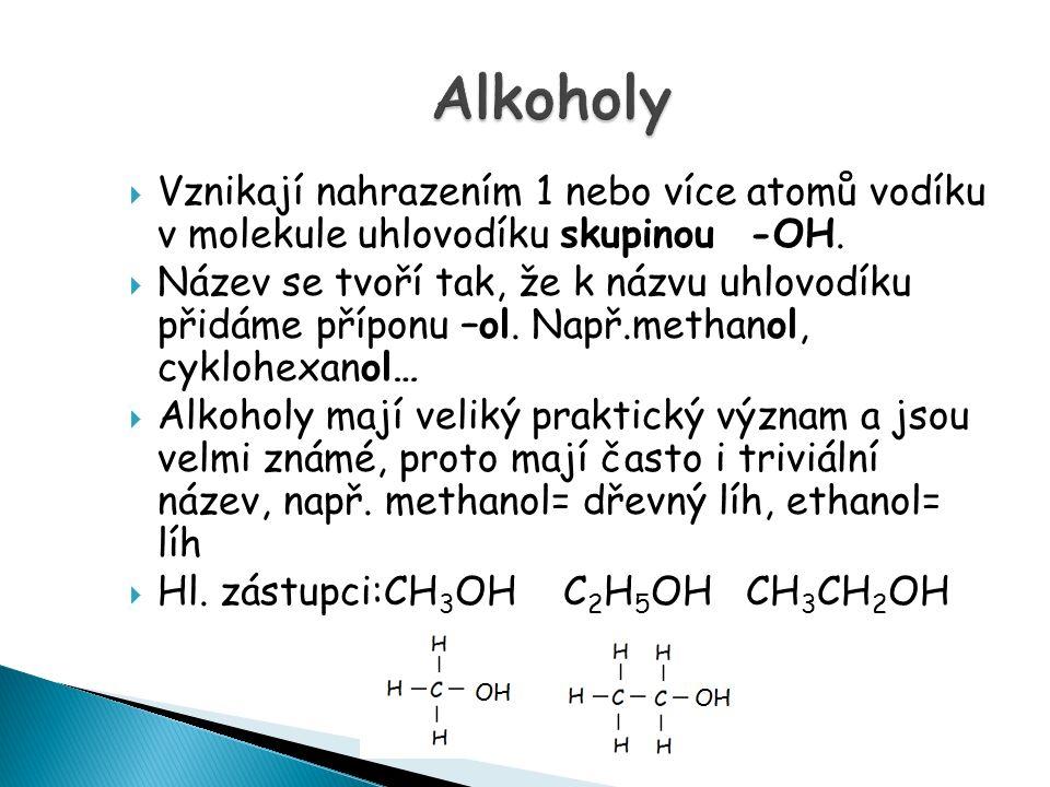  Vznikají nahrazením 1 nebo více atomů vodíku v molekule uhlovodíku skupinou -OH.