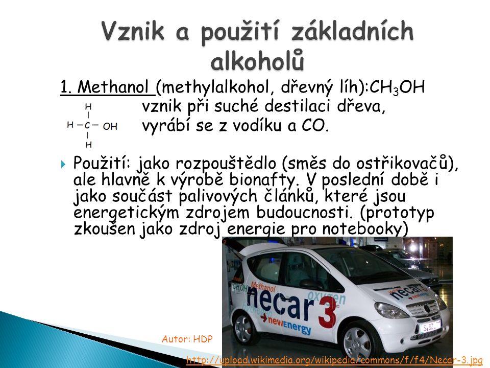 1. Methanol (methylalkohol, dřevný líh):CH 3 OH vznik při suché destilaci dřeva, vyrábí se z vodíku a CO.  Použití: jako rozpouštědlo (směs do ostřik