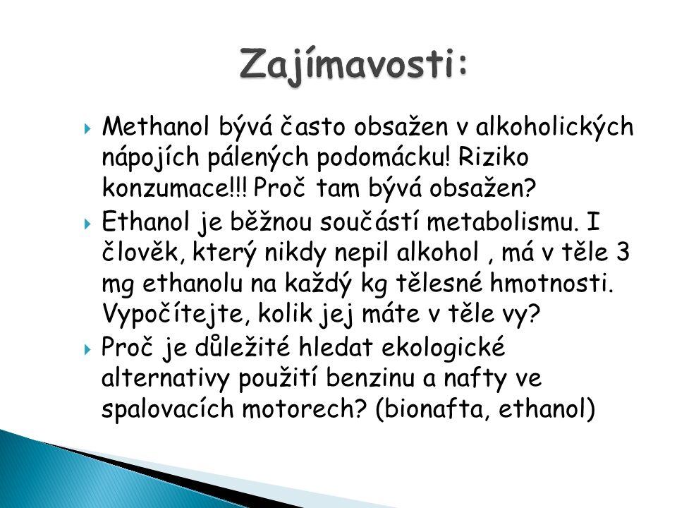  Methanol bývá často obsažen v alkoholických nápojích pálených podomácku.