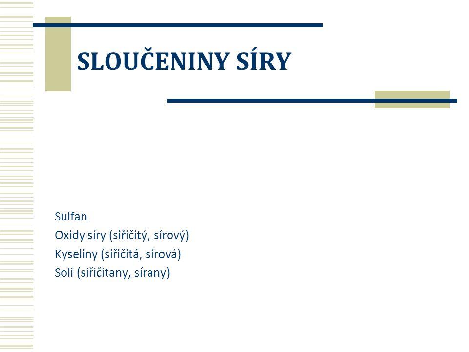 SLOUČENINY SÍRY Sulfan Oxidy síry (siřičitý, sírový) Kyseliny (siřičitá, sírová) Soli (siřičitany, sírany)