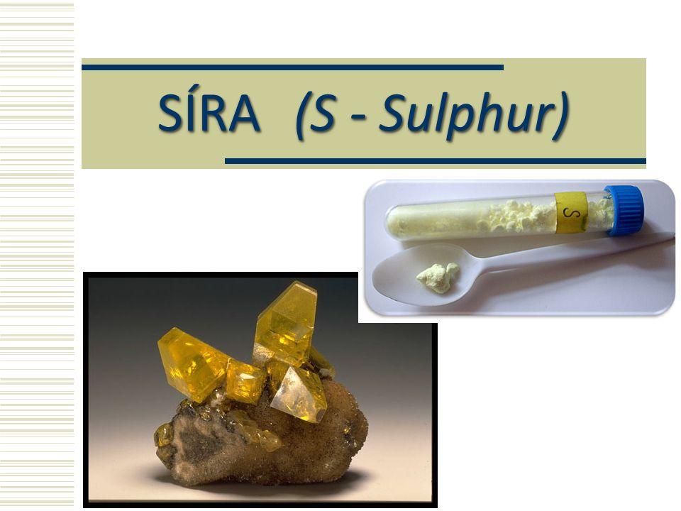 Oxid siřičitý (SO 2 ) Využití: výroba kyseliny sírové bělící činidlo – např.