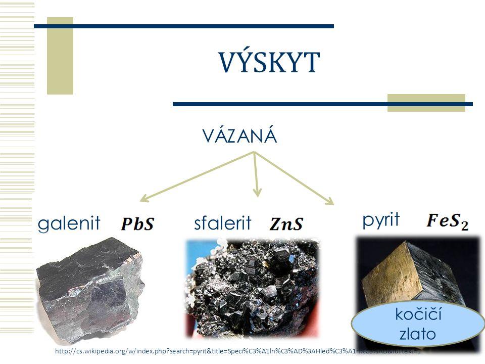 VÁZANÁ v ostatních sloučeninách chalkozin cinabarit (rumělka) chalkopyritGlauberova sůlsádrovec baryt VÝSKYT