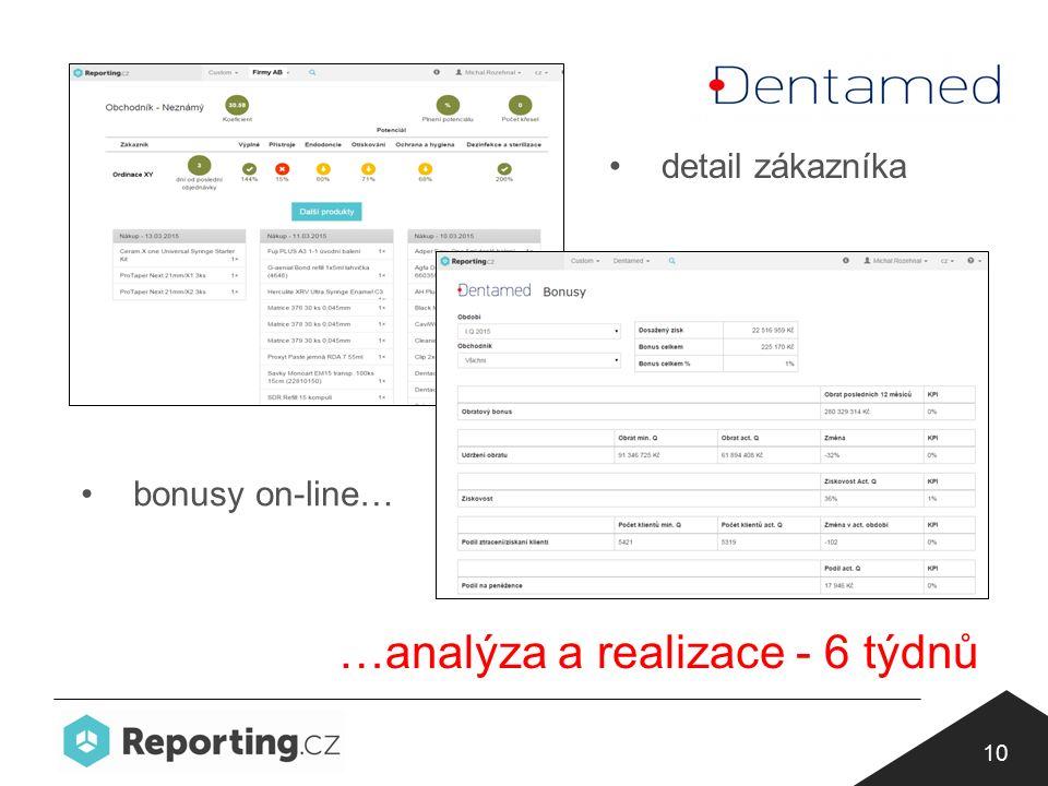 10 bonusy on-line… detail zákazníka …analýza a realizace - 6 týdnů