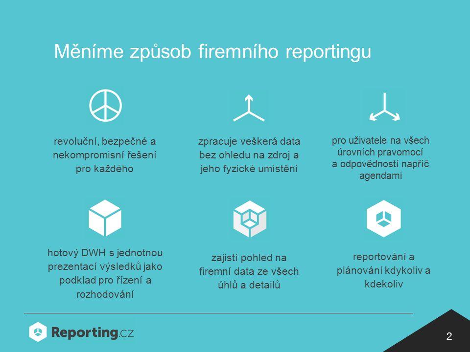 2 Měníme způsob firemního reportingu pro uživatele na všech úrovních pravomocí a odpovědností napříč agendami revoluční, bezpečné a nekompromisní řešení pro každého zpracuje veškerá data bez ohledu na zdroj a jeho fyzické umístění hotový DWH s jednotnou prezentací výsledků jako podklad pro řízení a rozhodování zajistí pohled na firemní data ze všech úhlů a detailů reportování a plánování kdykoliv a kdekoliv