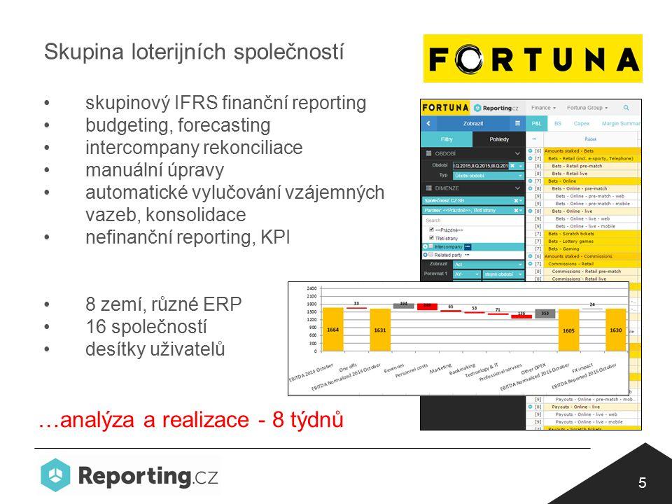 5 Skupina loterijních společností skupinový IFRS finanční reporting budgeting, forecasting intercompany rekonciliace manuální úpravy automatické vylučování vzájemných vazeb, konsolidace nefinanční reporting, KPI 8 zemí, různé ERP 16 společností desítky uživatelů …analýza a realizace - 8 týdnů