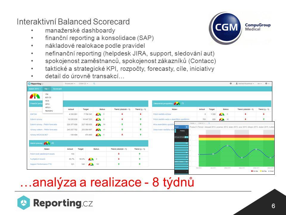 6 Interaktivní Balanced Scorecard manažerské dashboardy finanční reporting a konsolidace (SAP) nákladové realokace podle pravidel nefinanční reporting (helpdesk JIRA, support, sledování aut) spokojenost zaměstnanců, spokojenost zákazníků (Contacc) taktické a strategické KPI, rozpočty, forecasty, cíle, iniciativy detail do úrovně transakcí… …analýza a realizace - 8 týdnů