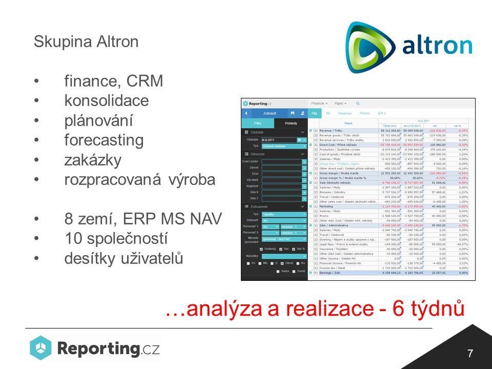 7 Skupina Altron finance, CRM konsolidace plánování forecasting zakázky rozpracovaná výroba 8 zemí, ERP MS NAV 10 společností desítky uživatelů …analýza a realizace - 6 týdnů