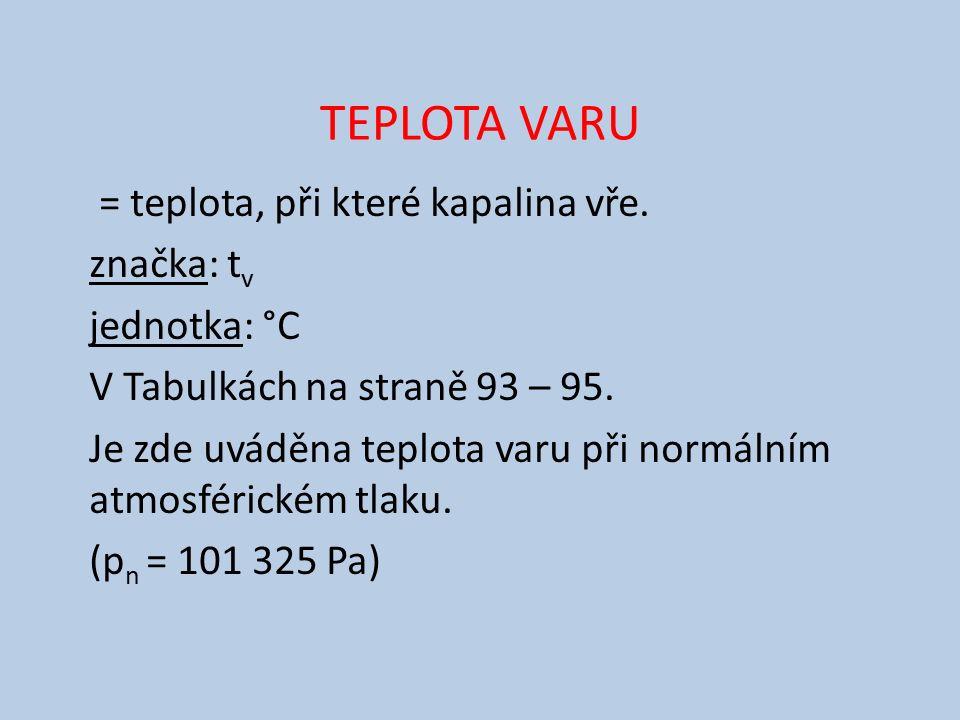 TEPLOTA VARU = teplota, při které kapalina vře.