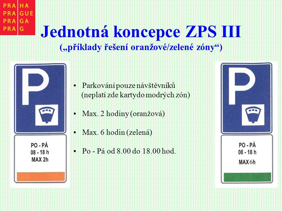 """Jednotná koncepce ZPS III (""""příklady řešení oranžové/zelené zóny"""") Parkování pouze návštěvníků (neplatí zde kartydo modrých zón) Max. 2 hodiny (oranžo"""