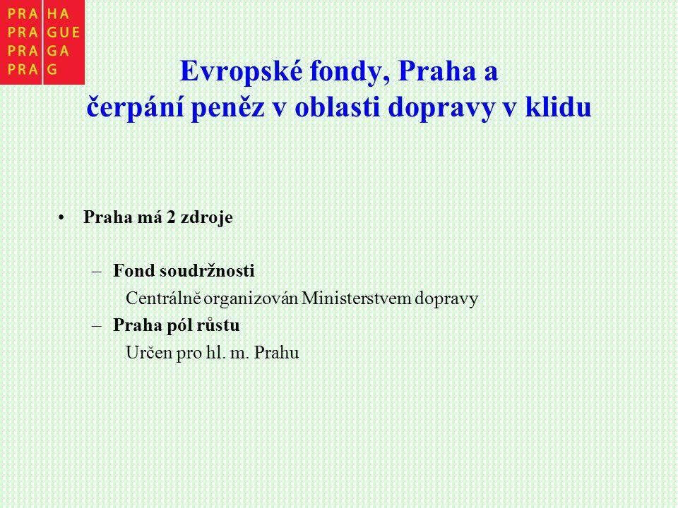 Evropské fondy, Praha a čerpání peněz v oblasti dopravy v klidu Praha má 2 zdroje –Fond soudržnosti Centrálně organizován Ministerstvem dopravy –Praha