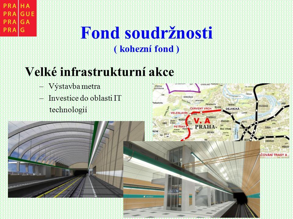 Fond soudržnosti ( kohezní fond ) Velké infrastrukturní akce –Výstavba metra –Investice do oblasti IT technologií