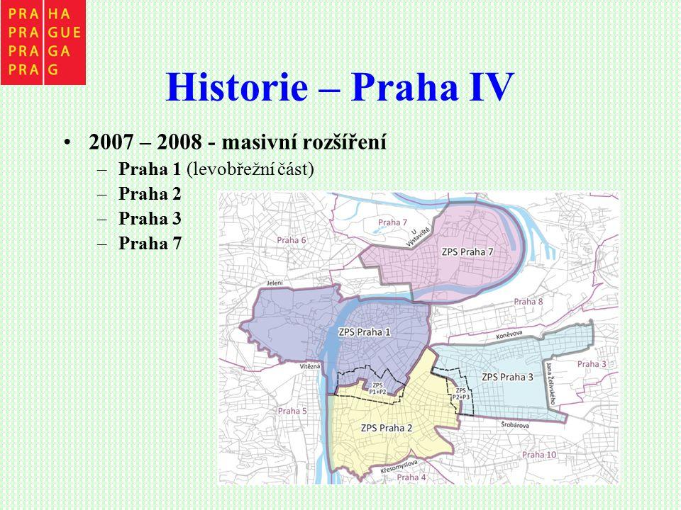 Historie – Praha IV 2007 – 2008 - masivní rozšíření –Praha 1 (levobřežní část) –Praha 2 –Praha 3 –Praha 7
