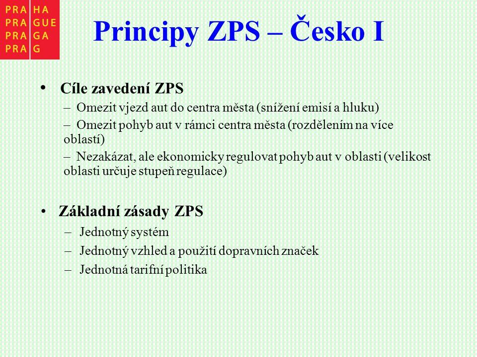 Principy ZPS – Česko I Základní zásady ZPS –Jednotný systém –Jednotný vzhled a použití dopravních značek –Jednotná tarifní politika Cíle zavedení ZPS