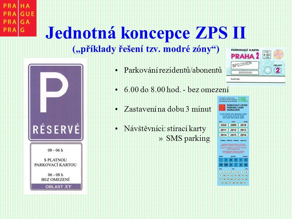 """Jednotná koncepce ZPS II (""""příklady řešení tzv. modré zóny"""") Parkování rezidentů/abonentů 6.00 do 8.00 hod. - bez omezení Zastavení na dobu 3 minut Ná"""