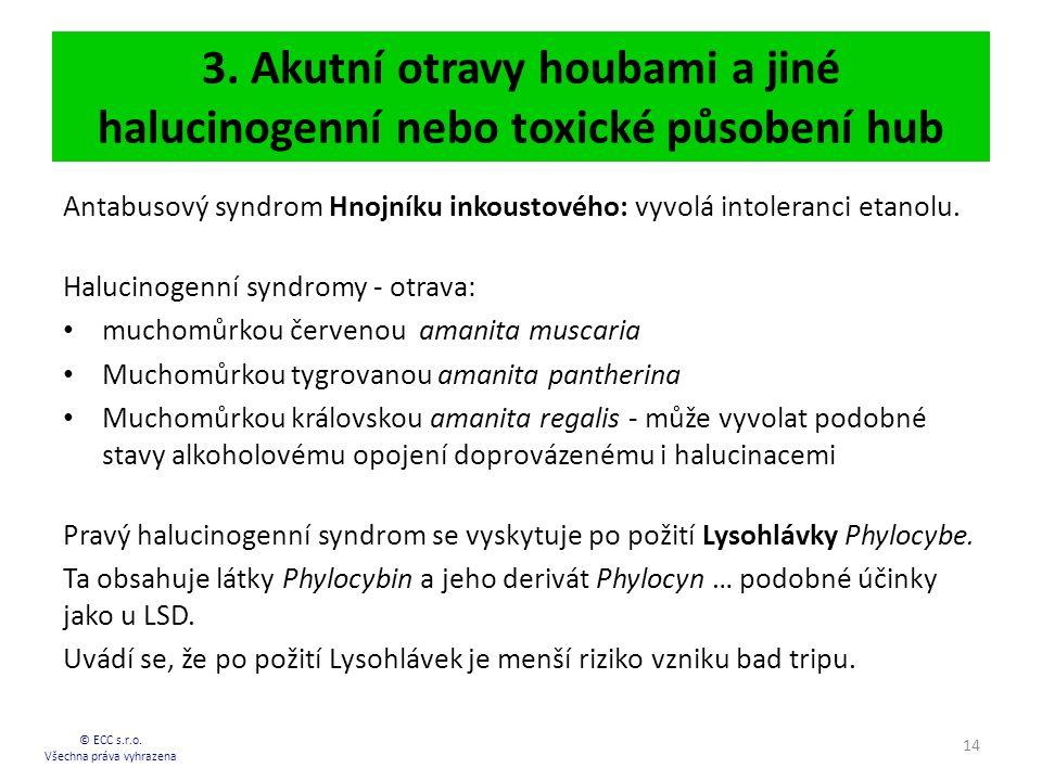 3.Akutní otravy houbami a jiné halucinogenní nebo toxické působení hub © ECC s.r.o.