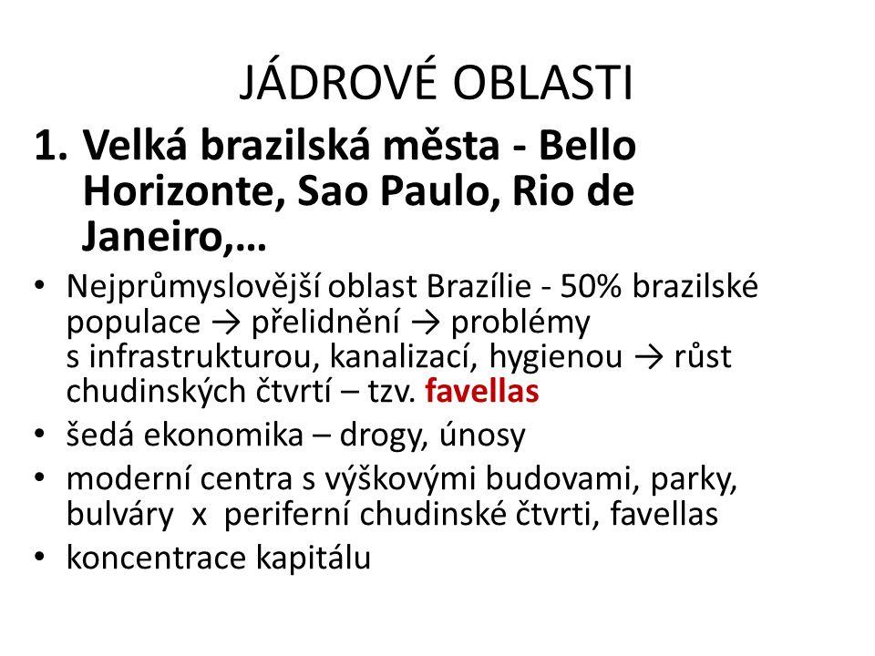 JÁDROVÉ OBLASTI 1.Velká brazilská města - Bello Horizonte, Sao Paulo, Rio de Janeiro,… Nejprůmyslovější oblast Brazílie - 50% brazilské populace → pře
