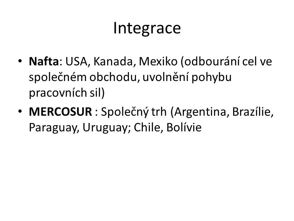 Integrace Nafta: USA, Kanada, Mexiko (odbourání cel ve společném obchodu, uvolnění pohybu pracovních sil) MERCOSUR : Společný trh (Argentina, Brazílie, Paraguay, Uruguay; Chile, Bolívie