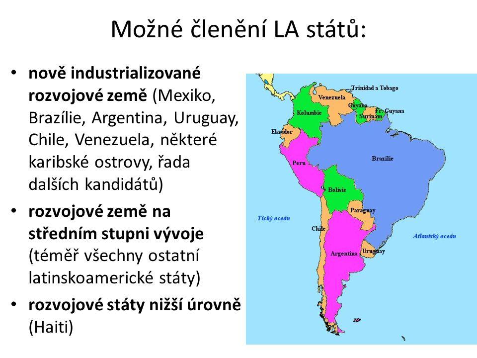 Možné členění LA států: nově industrializované rozvojové země (Mexiko, Brazílie, Argentina, Uruguay, Chile, Venezuela, některé karibské ostrovy, řada
