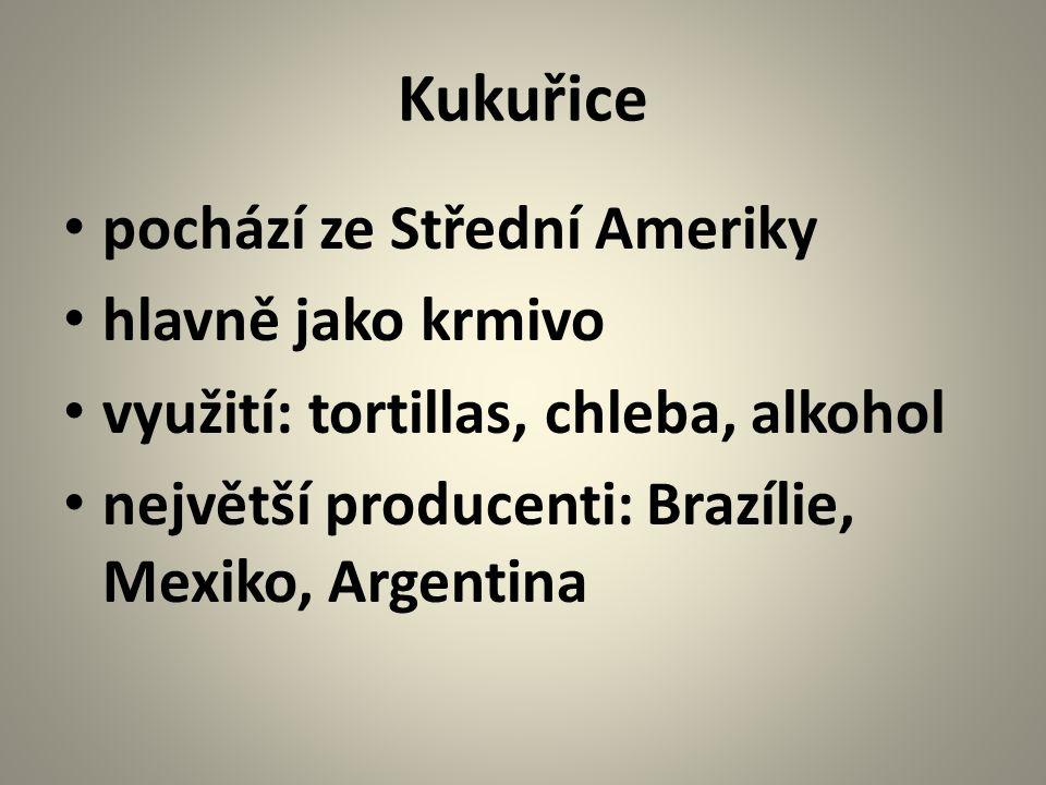 Kukuřice pochází ze Střední Ameriky hlavně jako krmivo využití: tortillas, chleba, alkohol největší producenti: Brazílie, Mexiko, Argentina