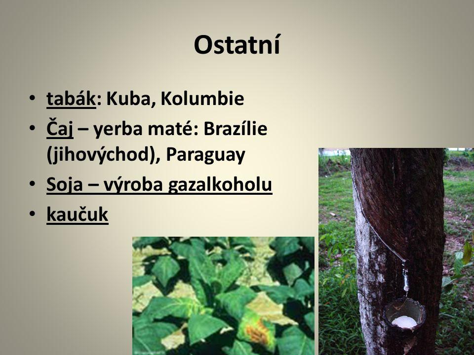 Ostatní tabák: Kuba, Kolumbie Čaj – yerba maté: Brazílie (jihovýchod), Paraguay Soja – výroba gazalkoholu kaučuk