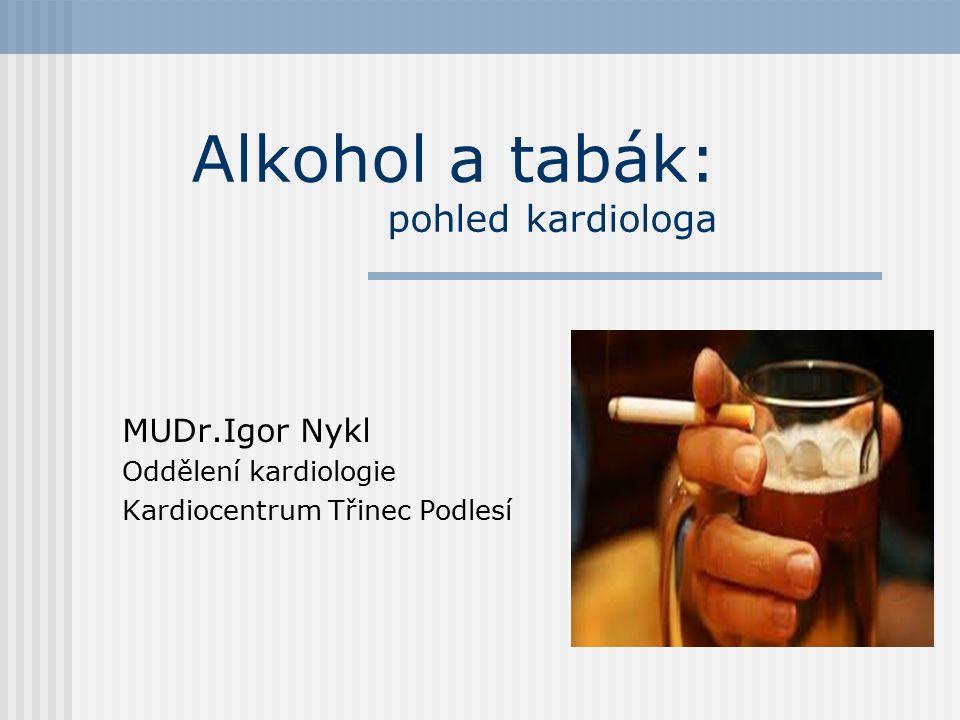 Mezinárodní klasifikace nemocí (MKN -10) PORUCHY DUŠEVNÍ A PORUCHY CHOVÁNÍ ZPŮSOBENÉ UŽÍVÁNÍM PSYCHOAKTIVNÍCH LÁTEK (F10–F19) -Al-kahal = arabsky jemná substance -Nikotin = alkaloid obsažený v tabáku ( rostlina Nicotiana tabacum)  F -10 : Poruchy duševní a poruchy chování způsobené alkoholem  F -17 : Poruchy duševní a poruchy chování způsobené tabákem -.0 = akutní intoxikace -.2 = syndrom závislosti -.3 = odvykací stav -.9 = neurčené duševní poruchy a poruchy chování
