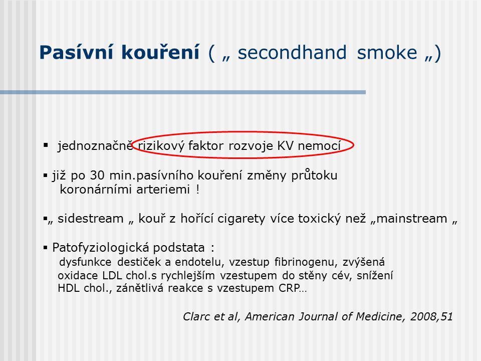 """Pasívní kouření ( """" secondhand smoke """")  jednoznačně rizikový faktor rozvoje KV nemocí  již po 30 min.pasívního kouření změny průtoku koronárními arteriemi ."""