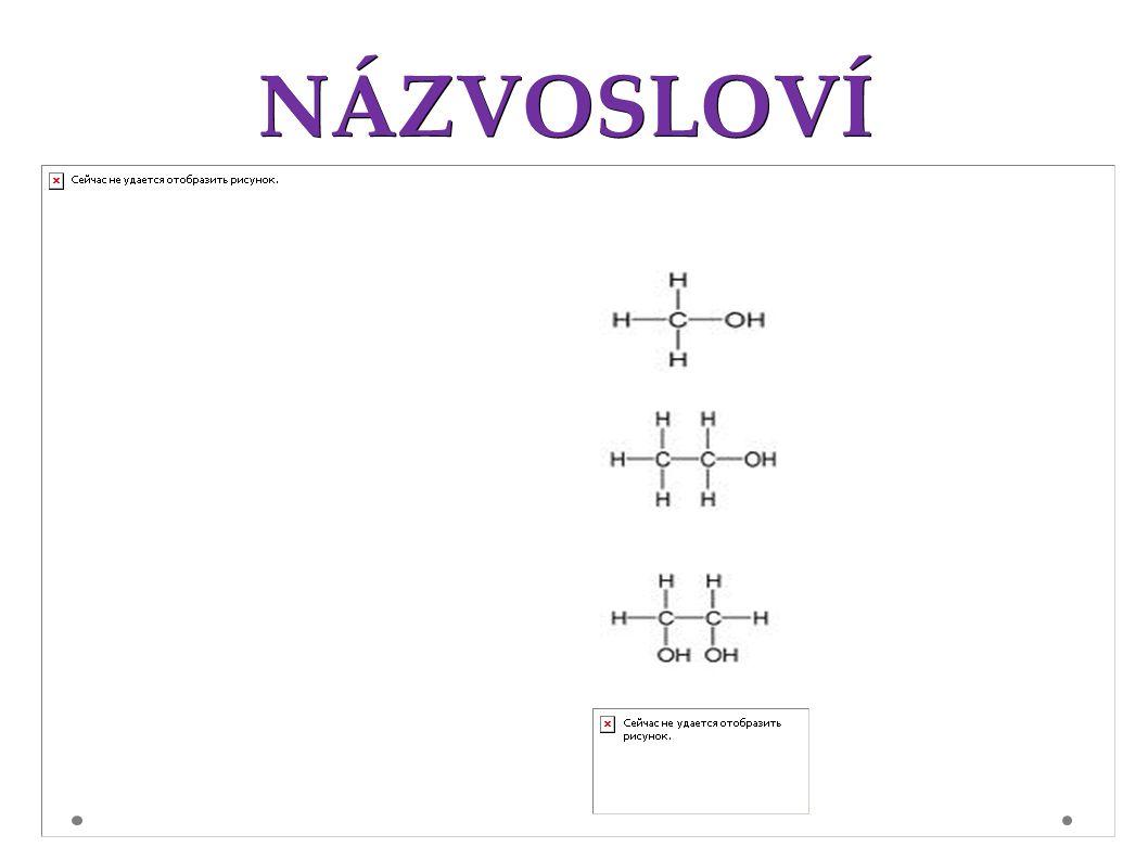 NÁZVOSLOVÍ 1) zjistíme nejdříve, od kterého uhlovodíku je alkohol odvozen ---- PROPAN 2)Připojíme ke zjištěnému uhlovodíku předponu –ol 1)PROPAN + ol PROPANOL