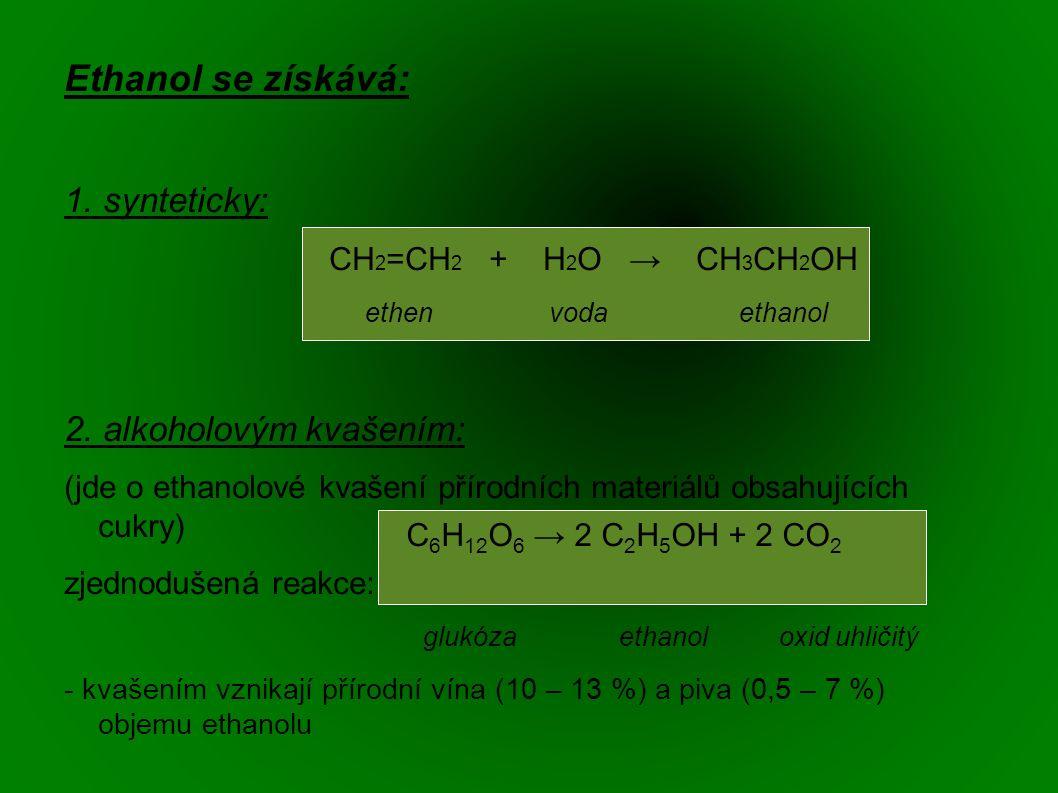 Ethanol se získává: 1. synteticky: CH 2 =CH 2 + H 2 O → CH 3 CH 2 OH ethen voda ethanol 2.