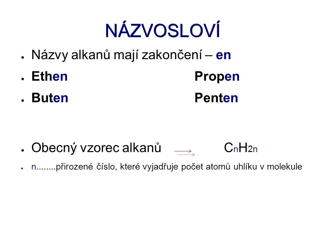 NÁZVOSLOVÍ ● Názvy alkanů mají zakončení – en ● EthenPropen ● ButenPenten ● Obecný vzorec alkanů C n H 2n ● n........přirozené číslo, které vyjadřuje počet atomů uhlíku v molekule