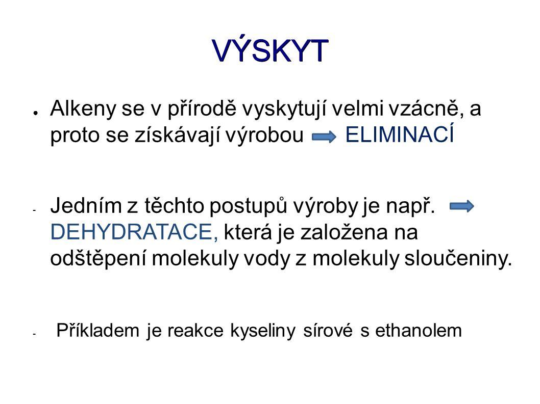 VÝSKYT ● Alkeny se v přírodě vyskytují velmi vzácně, a proto se získávají výrobou ELIMINACÍ - Jedním z těchto postupů výroby je např.