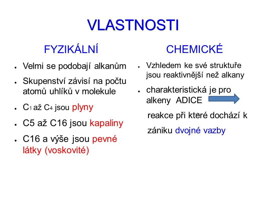 VLASTNOSTI FYZIKÁLNÍ ● Velmi se podobají alkanům ● Skupenství závisí na počtu atomů uhlíků v molekule ● C 1 až C 4 jsou plyny ● C5 až C16 jsou kapaliny ● C16 a výše jsou pevné látky (voskovité) CHEMICKÉ ● Vzhledem ke své struktuře jsou reaktivnější než alkany ● charakteristická je pro alkeny ADICE reakce při které dochází k zániku dvojné vazby